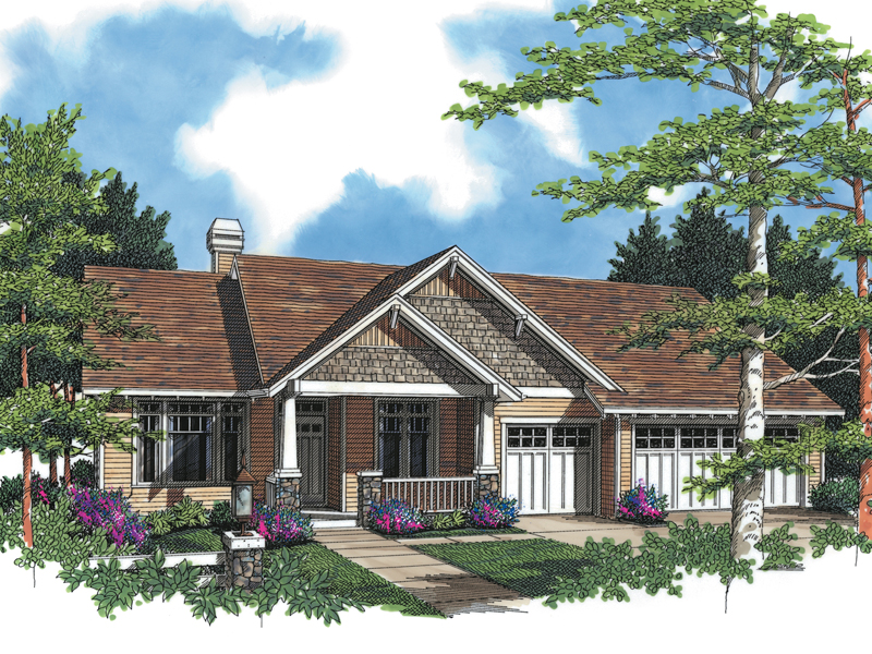 Arts & Crafts House Plan Front Image 011D-0004