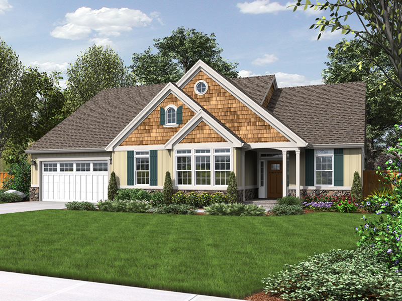 Craftsman House Plan Front Image - Springfall Craftsman Ranch Home 011D-0013 | House Plans and More
