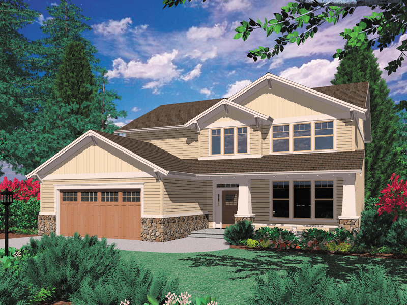 Traditional House Plan Front of Home 011D-0048