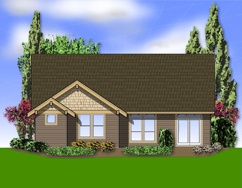 Craftsman House Plan Rear Photo 01 - 011D-0222 | House Plans and More