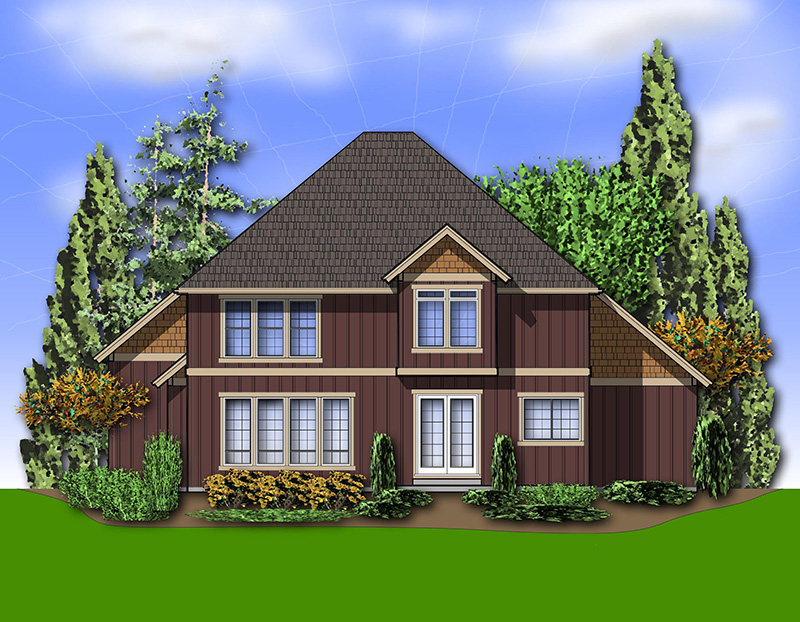 Craftsman House Plan Rear Photo 01 - 011D-0238 | House Plans and More