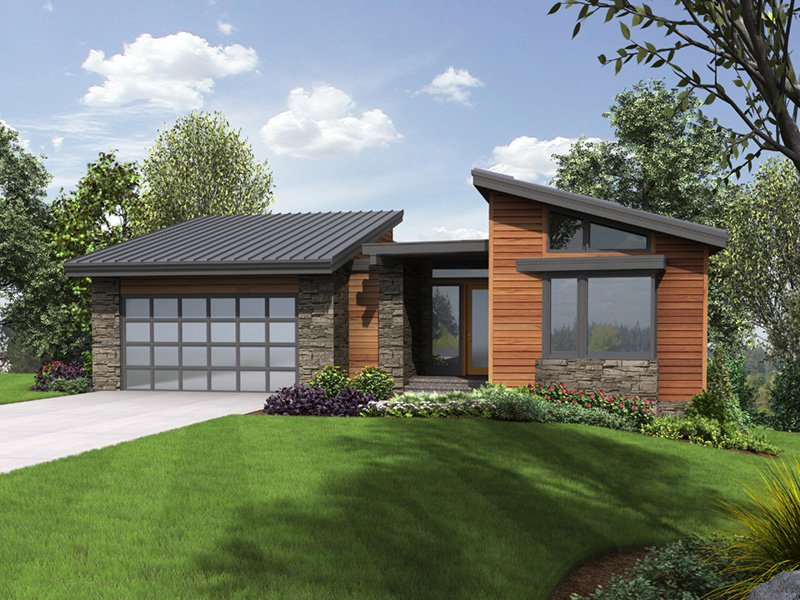 Mountain Home Plan Front Image - Shay Rustic Modern House Plans | Mid-Century Modern House Plans