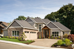 Mountain Home Plan Front of Home - Verbena Craftsman Home : Contemporary Craftsman-Style Home Plans