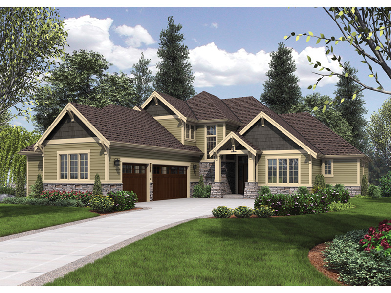 Mountain Home Plan Front Photo 02 - Verbena Craftsman Home : Contemporary Craftsman-Style Home Plans