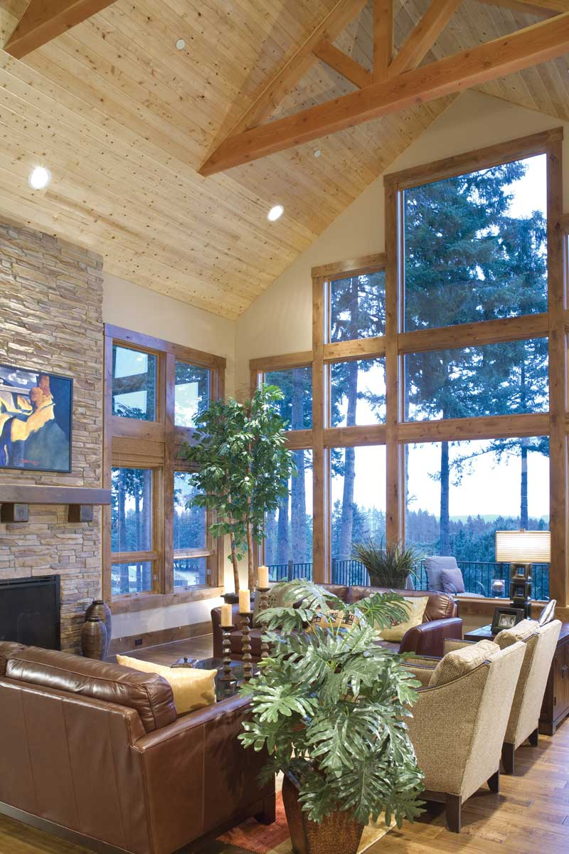 Mountain home plan great room photo 06 plan 011s 0001 for Great room home designs