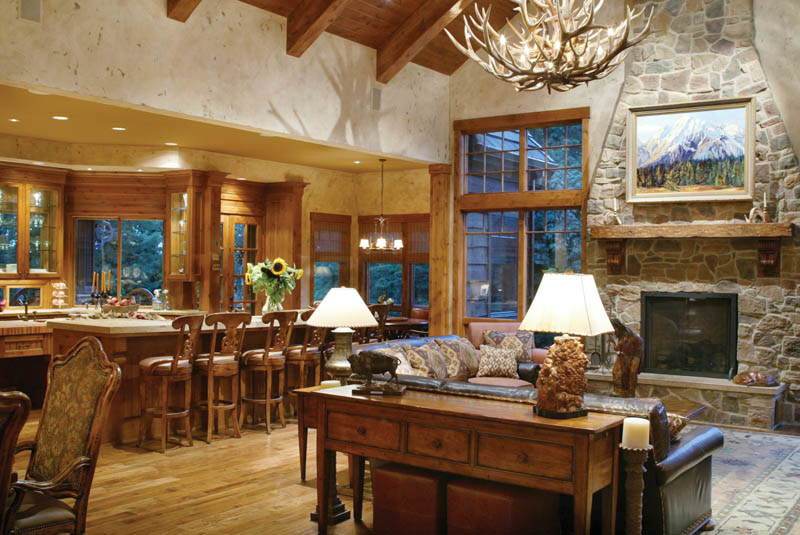 rustic home plan living room photo 01 011s 0001 - Large Living Room House Plans