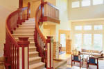 Prairie Style Floor Plan Stairs Photo - 011S-0050 | House Plans and More