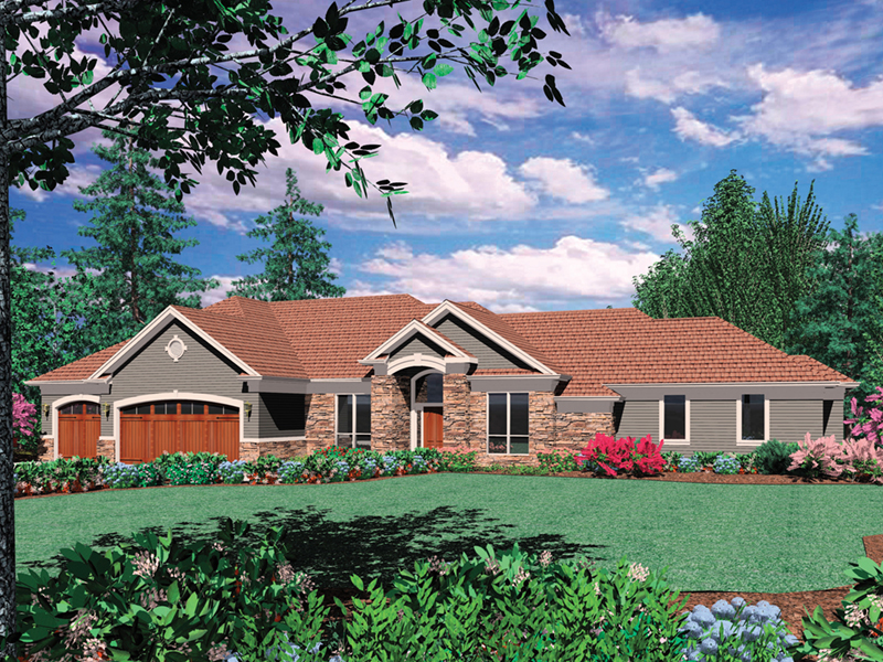 Rustic Home Plan Front of Home - 011S-0070 | House Plans and More