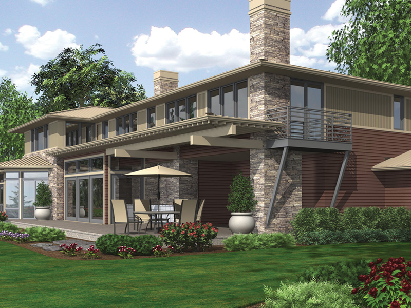 Contemporary House Plan Rear Photo 02 - 011S-0085 | House Plans and More