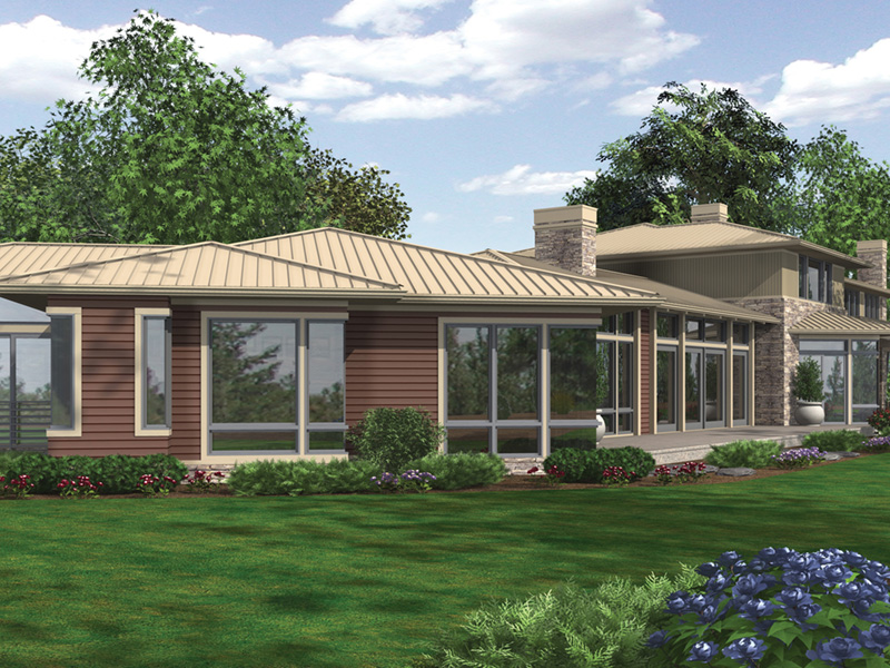 Modern House Plan Rear Photo 04 - Demarco Luxury Prairie Home 011S-0085 | House Plans and More