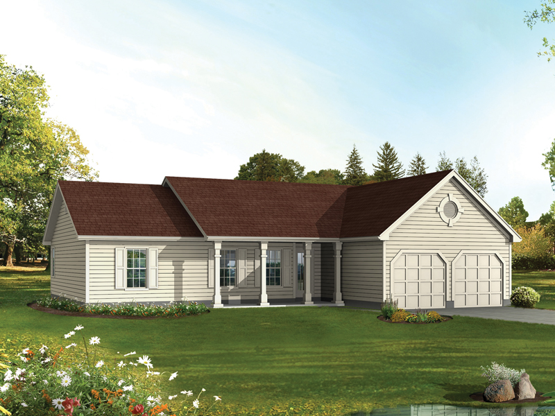 Accented Country Look To This Ranch Plan