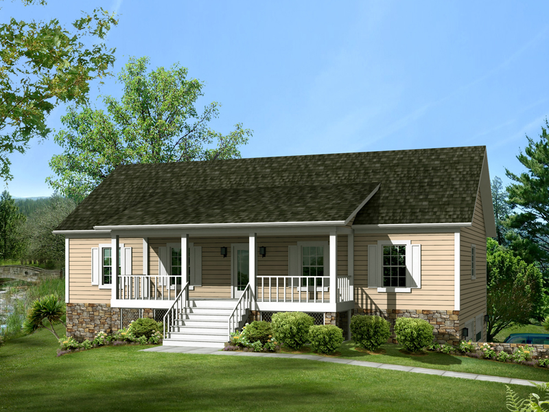 Ranch House Plan Front of Home 013D-0014