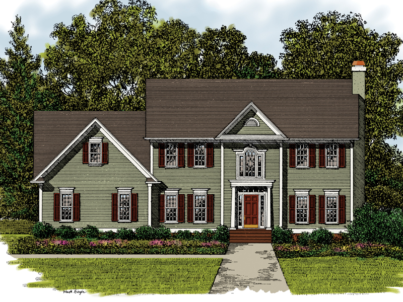 Georgian House Plan Front of Home 013D-0017