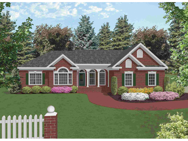Ranch House Plan Front of Home 013D-0019