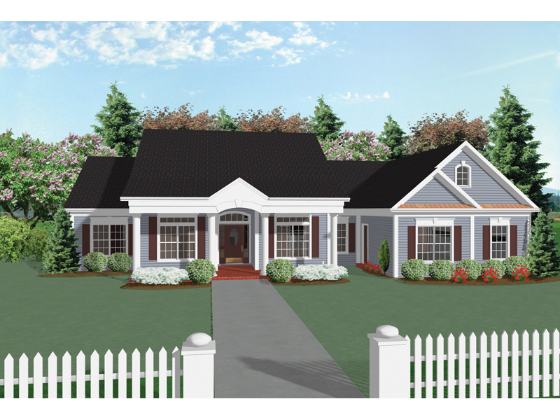 Ranch House Plan Front Image - 013D-0025 | House Plans and More