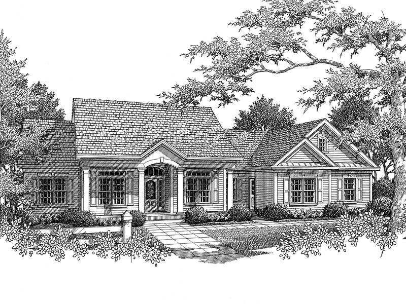 Traditional House Plan Front Image of House 013D-0025