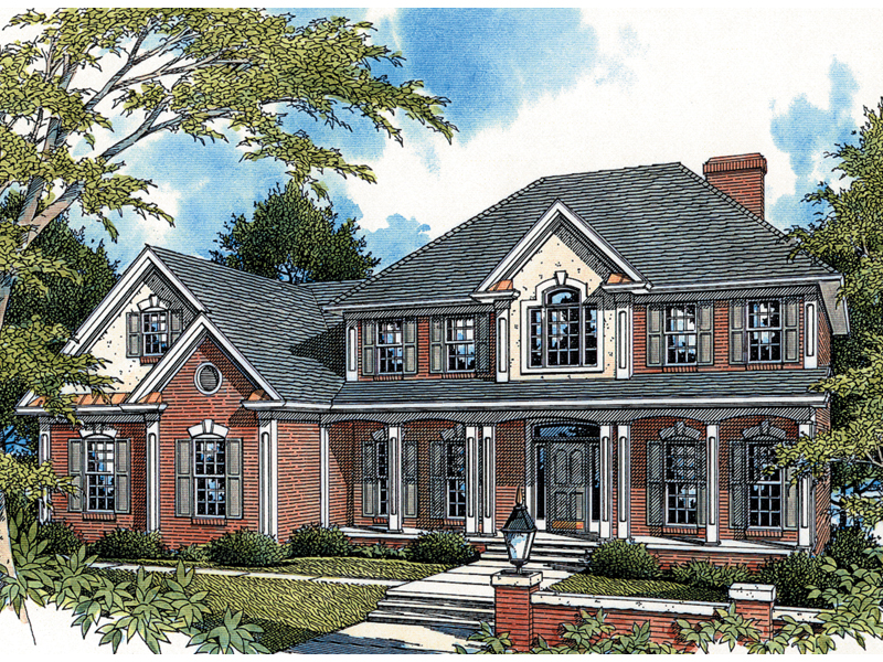 Georgian House Plan Front of Home 013D-0036