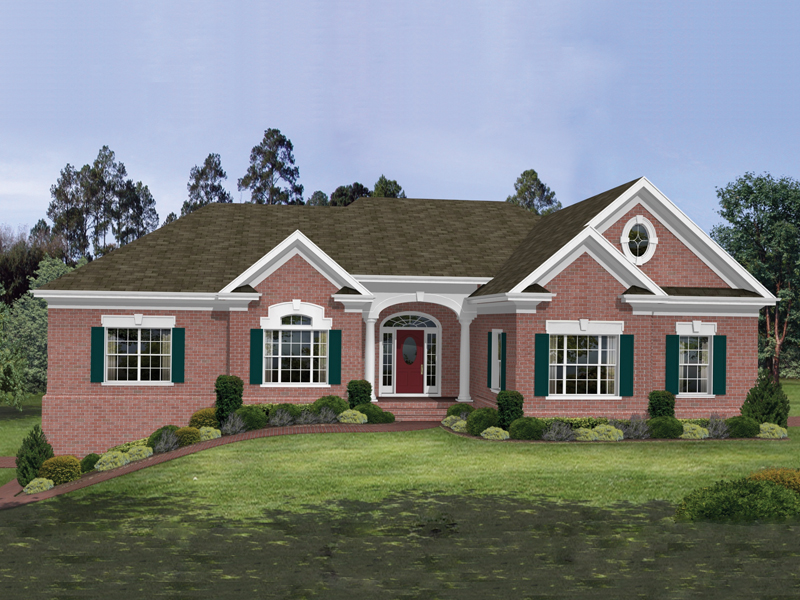 Ranch House Plan Front of Home 013D-0037
