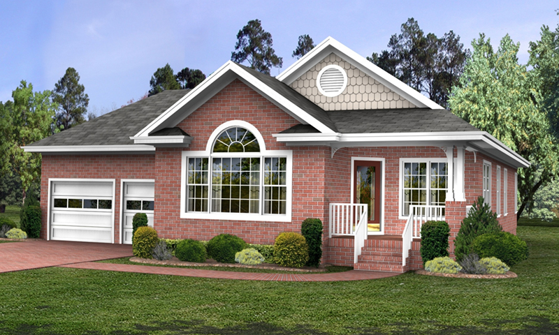 Double Gables And An Arch-Top Window Complete This Home Design