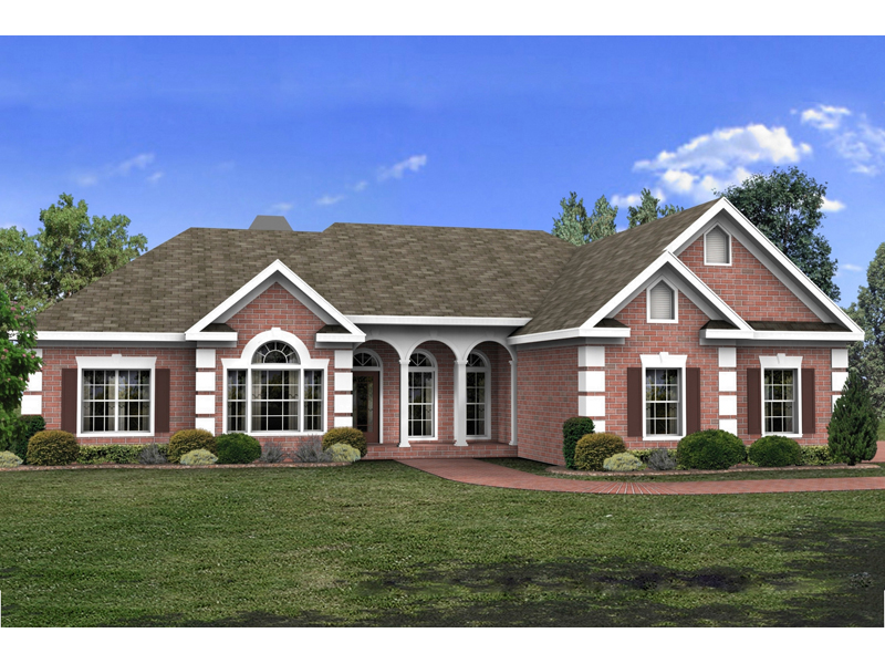Ranch House Plan Front of Home 013D-0048