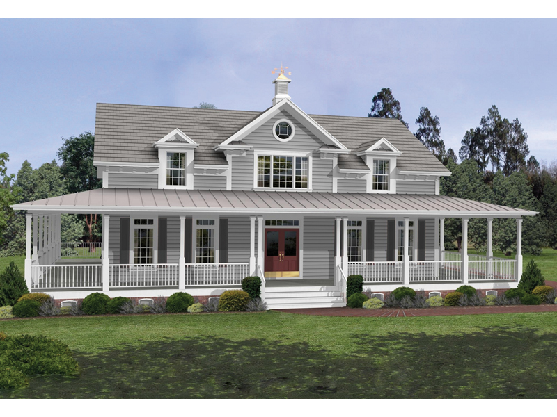 Milner country home plan 013d 0050 house plans and more Country house plans with front porch