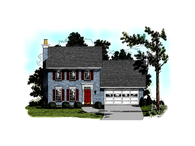 Colonial House Plan Front of Home 013D-0062
