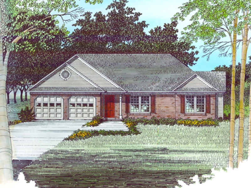 A Ranch Home Design With Brick And Siding Combination