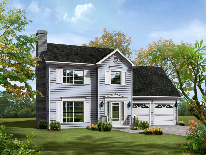 Colonial House Plan Front of Home 013D-0064