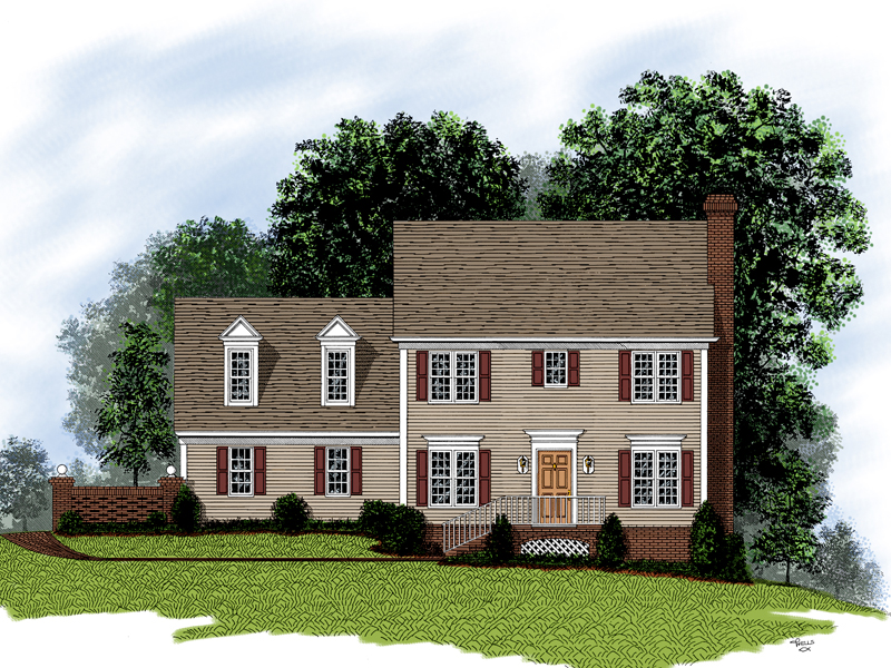 Early American House Plan Front of Home 013D-0068