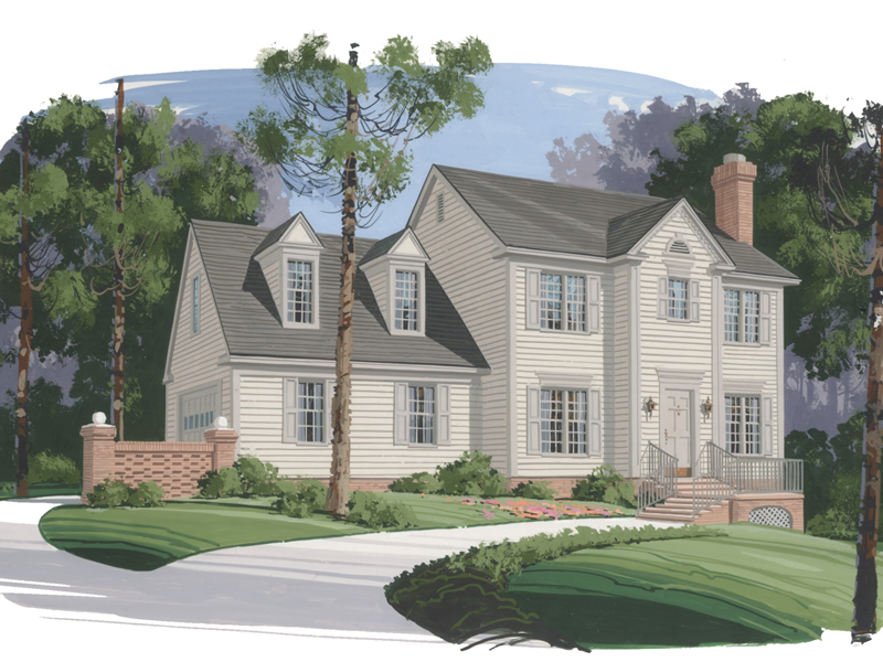 Early American House Plan Front of Home 013D-0069