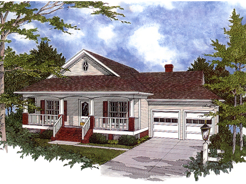Country-Style Cottage With Raised Covered Porch