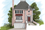 Two-Story Stucco Home Has Balcony With Door As The Front Focal Point