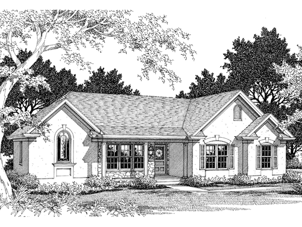 Crossroads stucco ranch home plan 013d 0090 house plans for Stucco home floor plans