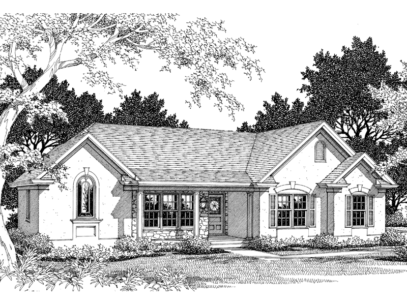 Ranch House Plan Front of Home 013D-0090