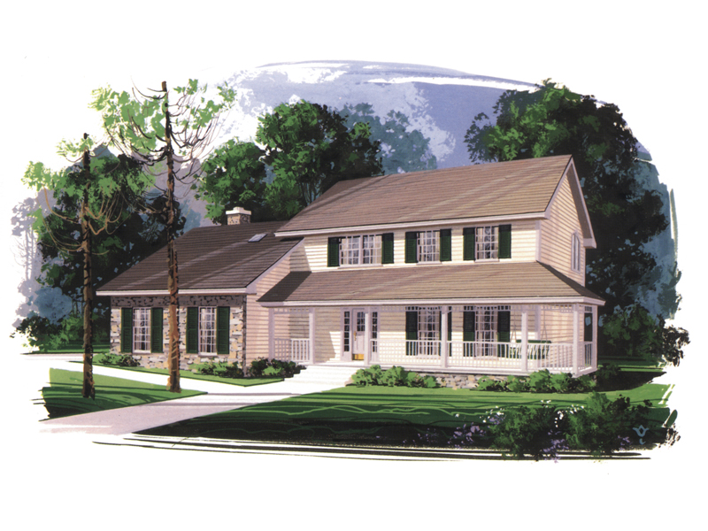 Farmhouse Style Two-Story With Covered Porch