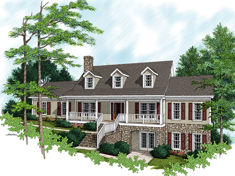Stone And Stucco Accent This Country Style Home