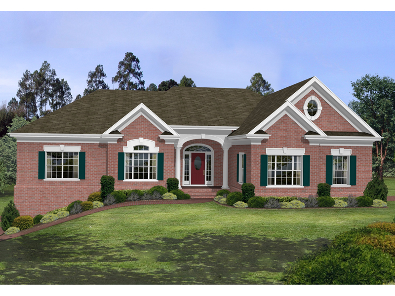 Stovall park brick ranch home plan 013d 0100 house plans for Brick farmhouse plans