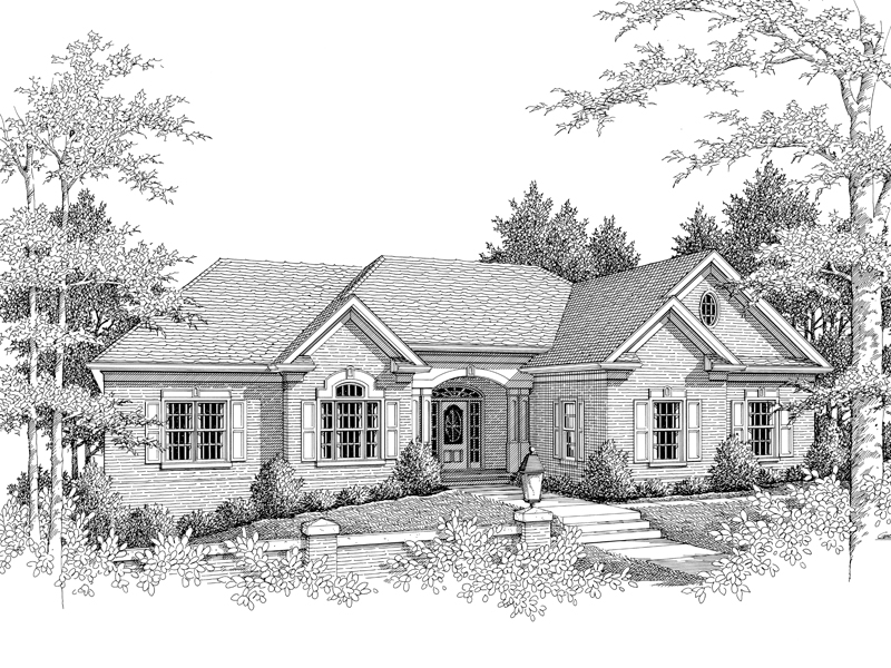 Traditional House Plan Front Image of House 013D-0100
