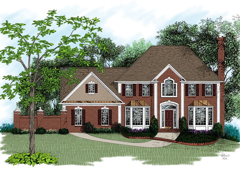 Two-Story Brick Home With Quoin Accents
