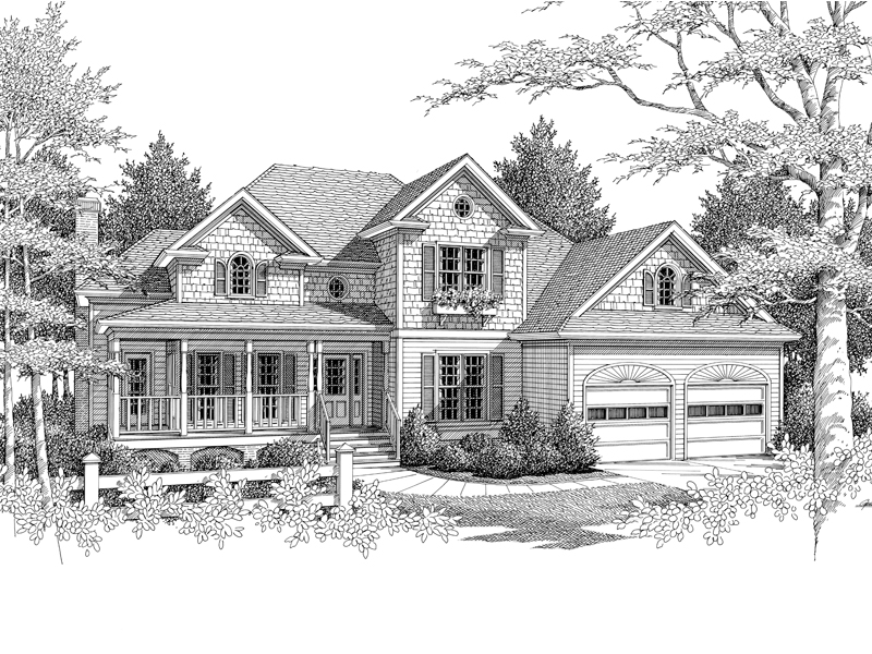 Traditional House Plan Front Image of House 013D-0103