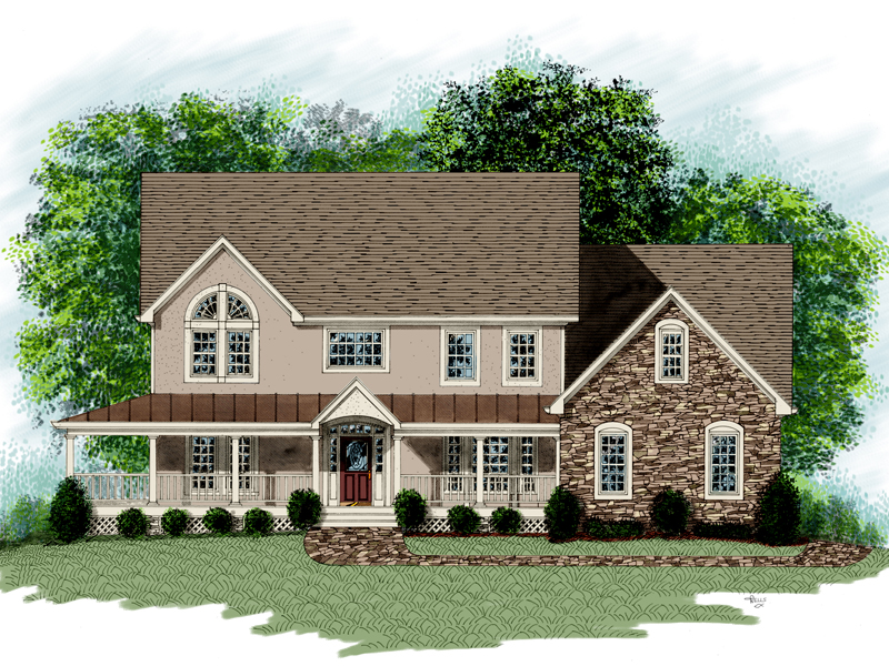 Country Style Two-Story With Stone Accent Wall