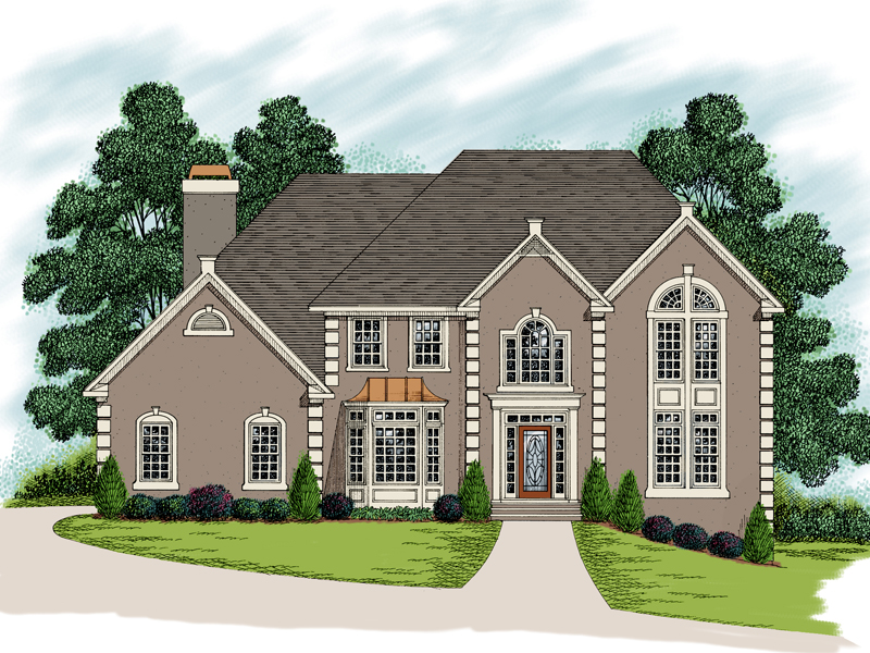 Stunning Two-Story Stucco Home With Many Windows