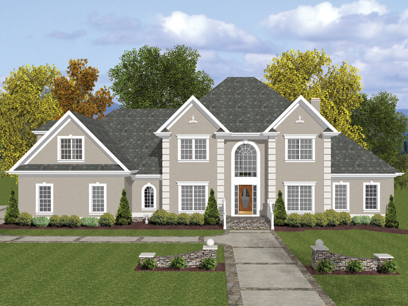 Colonial House Plan Front of Home 013D-0116