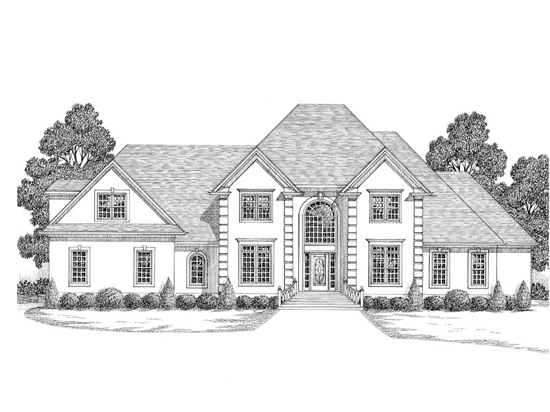 Traditional House Plan Front Image of House 013D-0116