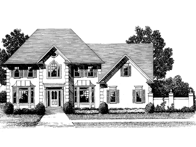 Georgian House Plan Front Image of House - 013D-0117 | House Plans and More