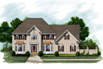 Country French Two-Story Stucco Home