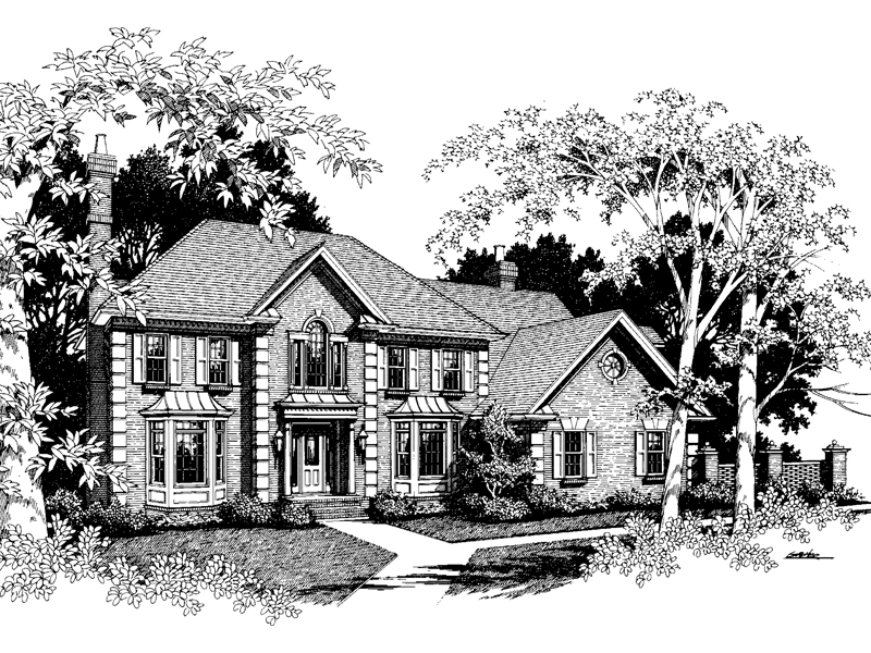 Georgian House Plan Front Image of House - 013D-0120 | House Plans and More