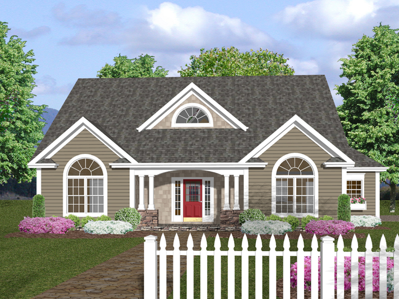 Ranch House Plan Front of Home 013D-0130