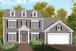 Traditional Two-Story Home With Triple Dormers And Front Loading Garage