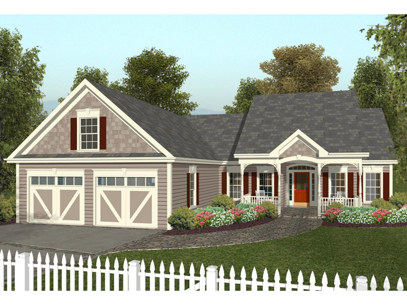 Charming Ranch Home With Covered Porch And Garage Door Trim Detail